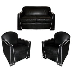Art Deco Sofa and Pair of Armchairs