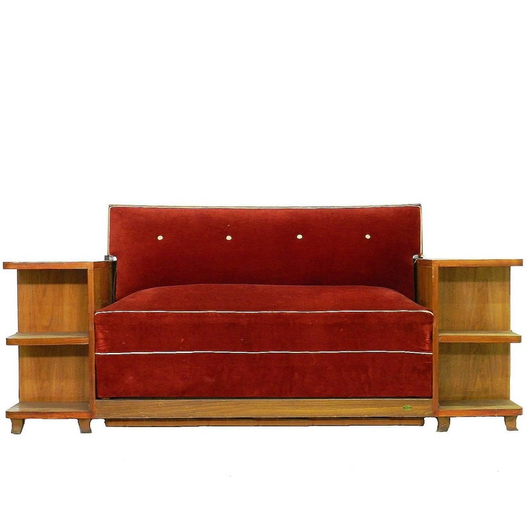 Art Deco Sofa French Canapé Bed with Integrated Cabinets and Shelves
