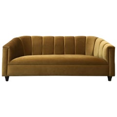 Art Deco Style Sofa, Golden Velvet, by Watt Studio