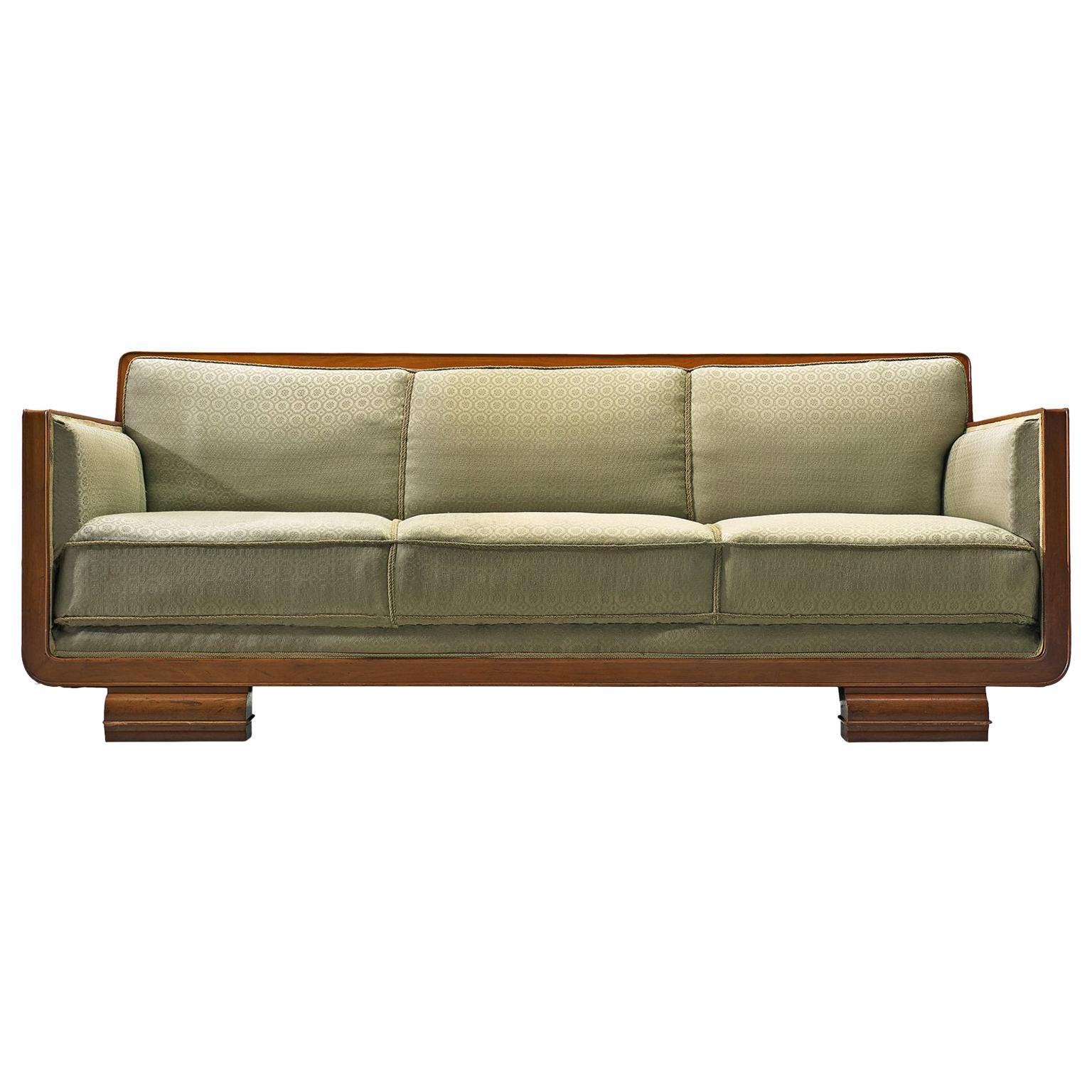 Superbe Art Deco Sofa, Green Fabric And Mahogany, France, 1940s