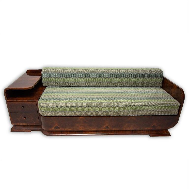 Czech Art Deco Sofa in Walnut, 1930s, Bohemia For Sale