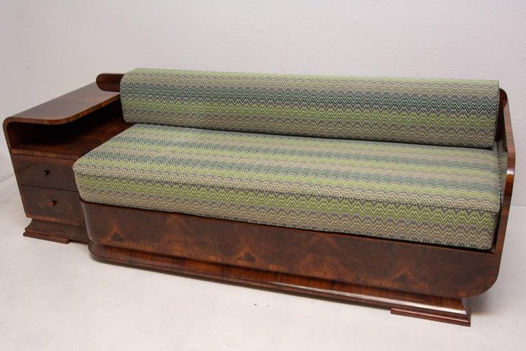 Mid-20th Century Art Deco Sofa in Walnut, 1930s, Bohemia For Sale