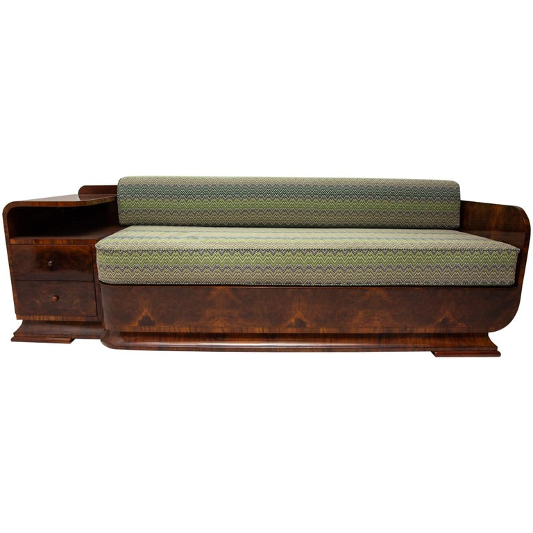 Art Deco Sofa in Walnut, 1930s, Bohemia For Sale
