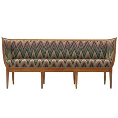 Art Deco Sofa Reupholstered in Multicolored Woven Fabric