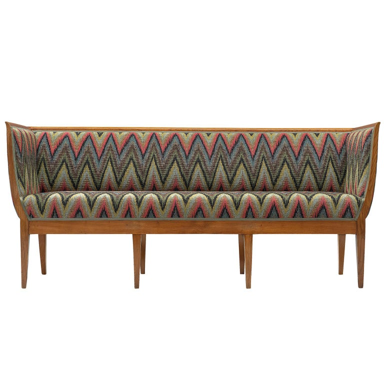 Art Deco Sofa Reupholstered In Multicolored Woven Fabric For