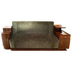 Art Deco Sofa, Walnut Veneer and Green Velvet, France, circa 1930