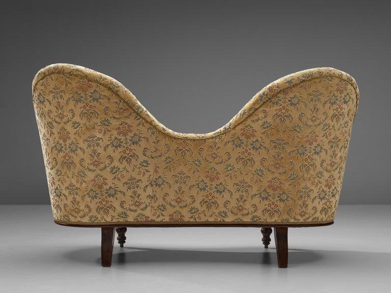 Mid-20th Century Art Deco Sofa with Floral Upholstery For Sale