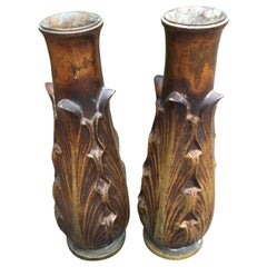 Art Deco Solid Bronze Candleholders or Vases / a Pair