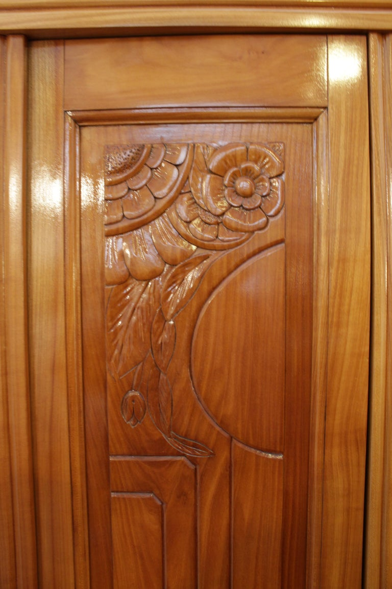 Polished Art Deco Solid Cherry Three-Door Wardrobe / Cabinet For Sale