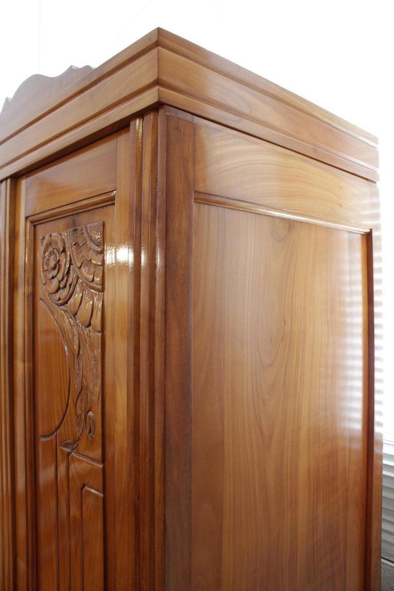 20th Century Art Deco Solid Cherry Three-Door Wardrobe / Cabinet For Sale