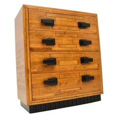 Art Deco Solid Oak Chest of Drawers Vintage, 1930's