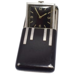 Art Deco Solid Silver Miniature Flip Up Travel Clock by Rotary, circa 1933