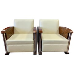 Art Deco South African Macassar, Chrome and Leather Club Chairs