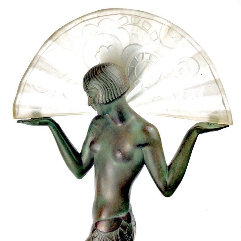 French Art Deco Spanish Dancer Max Le Verrier / Raymond Guerbe Lamp Statue, Paris 1930 For Sale