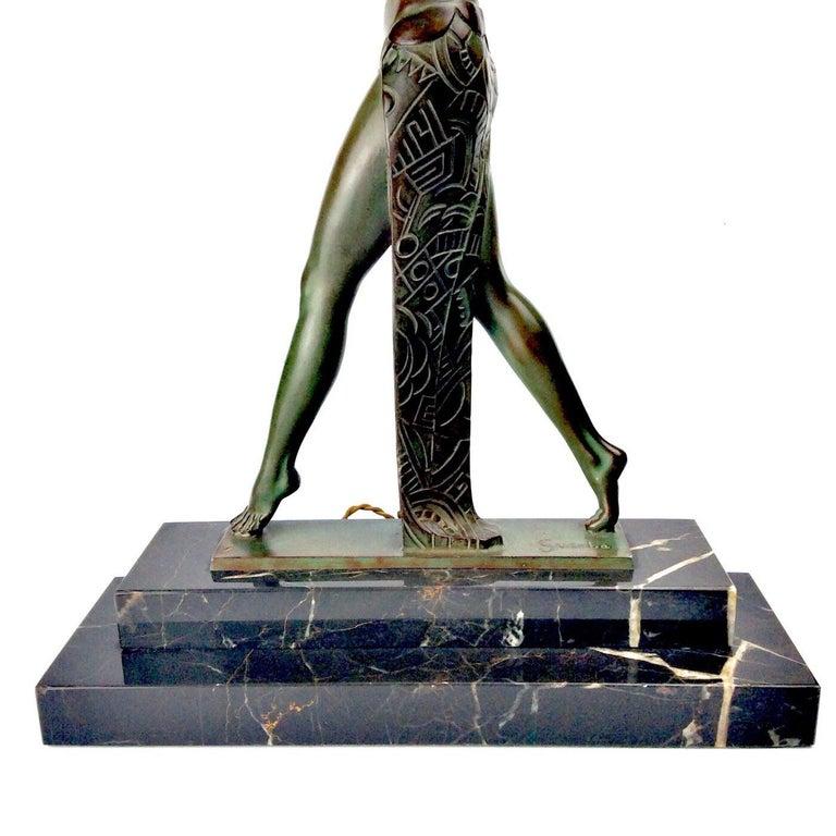 Hand-Carved Art Deco Spanish Dancer Max Le Verrier / Raymond Guerbe Lamp Statue, Paris 1930 For Sale