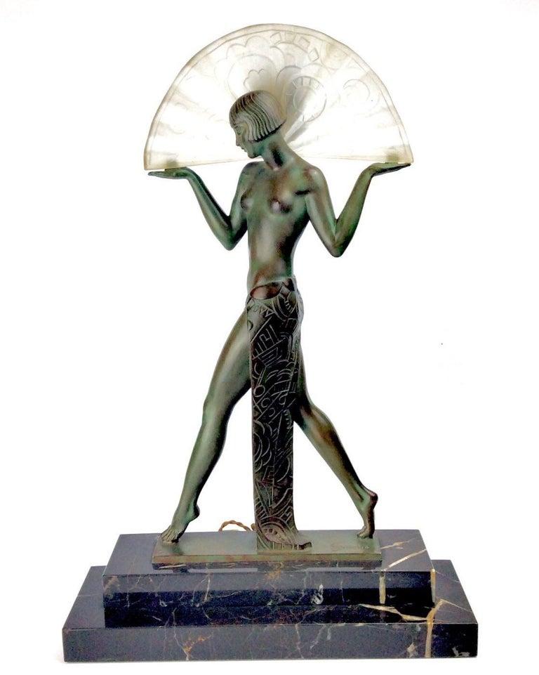 Art Deco Spanish Dancer Max Le Verrier / Raymond Guerbe Lamp Statue, Paris 1930 For Sale