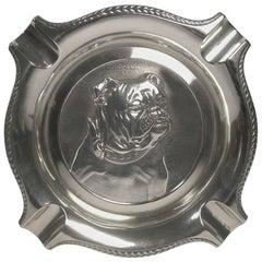 Art Deco Spanish Silver '916 / 000' Cigar Ashtray, English Bulldog, circa 1940