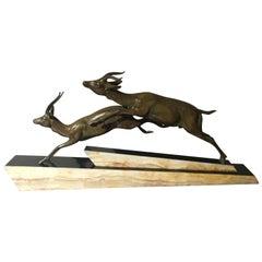 Art Deco Spelter Antelope