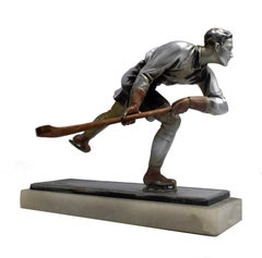 Art Deco Spelter Ice Skater Figure Attributed to Josef Lorenzl, circa 1930s