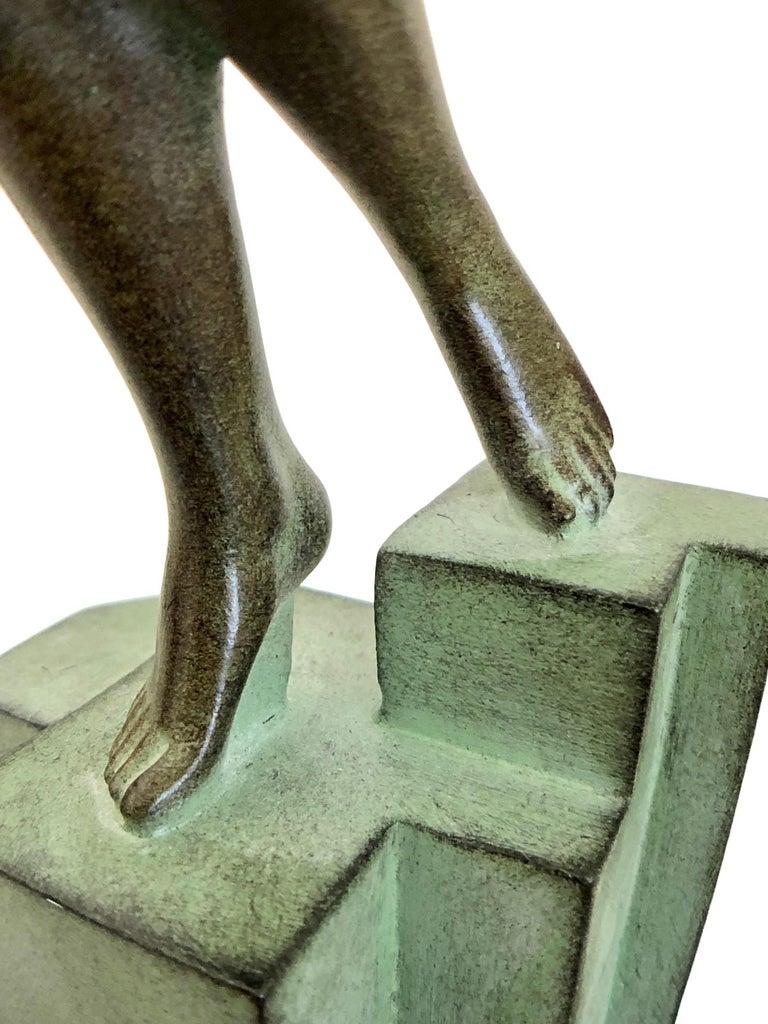 Art Deco Spelter Sculpture Love Message by Pierre Le Faguays and Max Le Verrier For Sale 4
