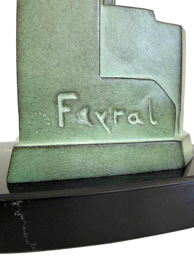 Art Deco Spelter Sculpture Love Message by Pierre Le Faguays and Max Le Verrier For Sale 5