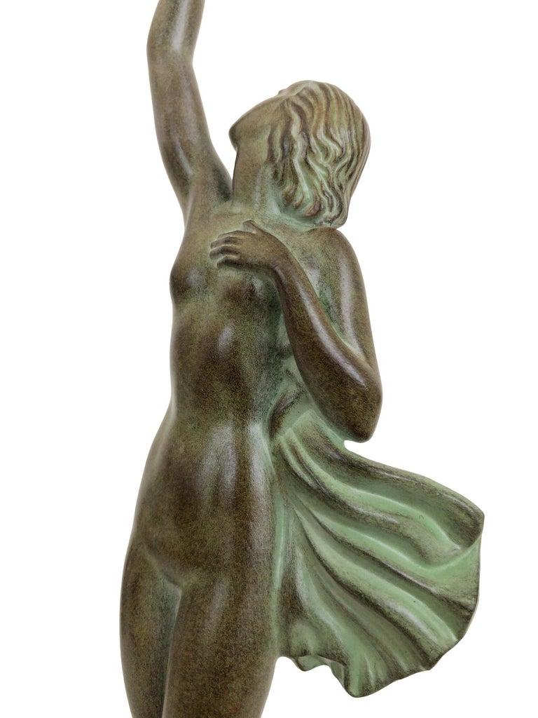 Art Deco Spelter Sculpture Love Message by Pierre Le Faguays and Max Le Verrier For Sale 7