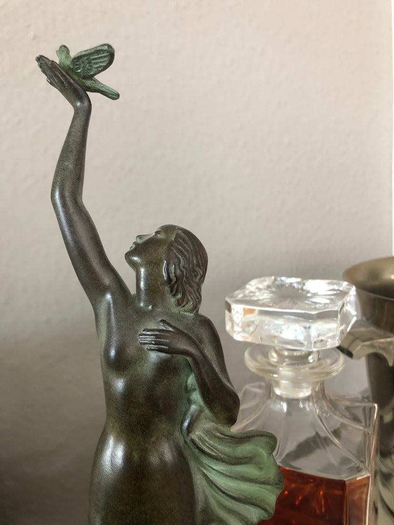 French Art Deco Spelter Sculpture Love Message by Pierre Le Faguays and Max Le Verrier For Sale