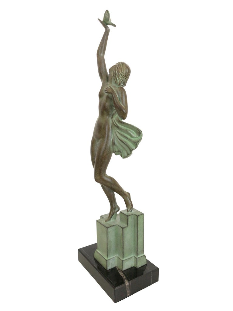 Patinated Art Deco Spelter Sculpture Love Message by Pierre Le Faguays and Max Le Verrier For Sale
