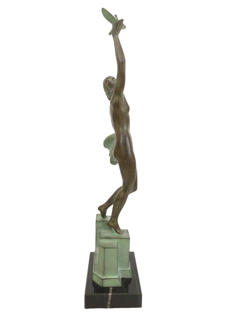 Contemporary Art Deco Spelter Sculpture Love Message by Pierre Le Faguays and Max Le Verrier For Sale