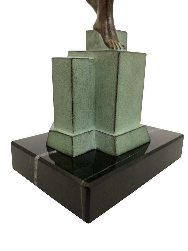 Marble Art Deco Spelter Sculpture Love Message by Pierre Le Faguays and Max Le Verrier For Sale