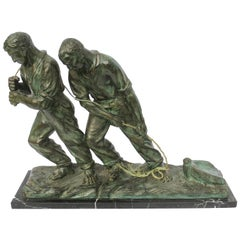 Art Deco Spelter Sculpture, Two Men Pulling a Boat from the Water, Signed