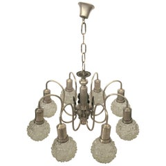 Art Deco Spider Ceiling Lamp with Eight Cut-Glass Balls