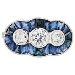 Art Deco Style Calibrated Sapphire Diamonds 18 Karat White Gold Ring