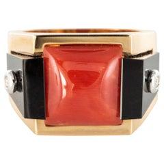 Art Deco Style Spirit Coral Sugar Loaf Onyx Diamond Signet Ring