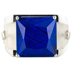 Art Deco Spirit Lapis Lazuli Rock Crystal Diamond Signet Ring
