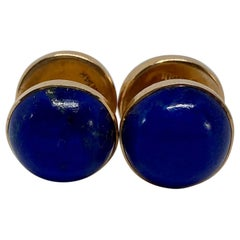 """Art Deco """"Spool"""" Cufflinks in Yellow Gold and Lapis by Sansbury & Nellis"""