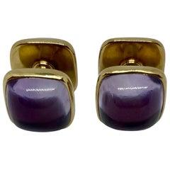 "Art Deco ""Spool"" Cufflinks with Amethysts in 14 Karat Gold by Carrington & Co."