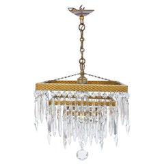 Art Deco Square Crystal Chandelier, Gilded