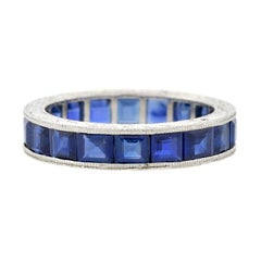 Art Deco Square Cut Sapphire Eternity Band 3ctw