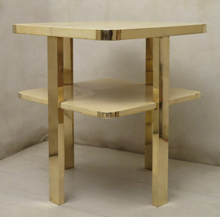 Art Deco Square GoatSkin and Brass Italian Side Table, 1920 For Sale 7