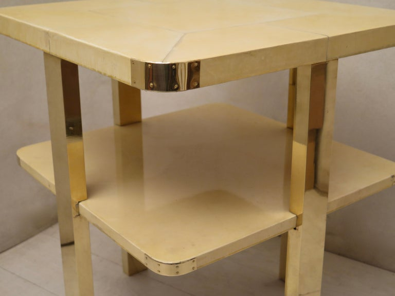 Art Deco Square GoatSkin and Brass Italian Side Table, 1920 For Sale 9