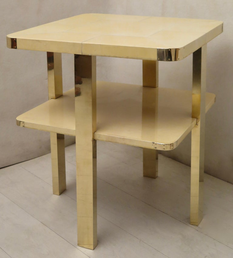 Art Deco Square GoatSkin and Brass Italian Side Table, 1920 For Sale 10