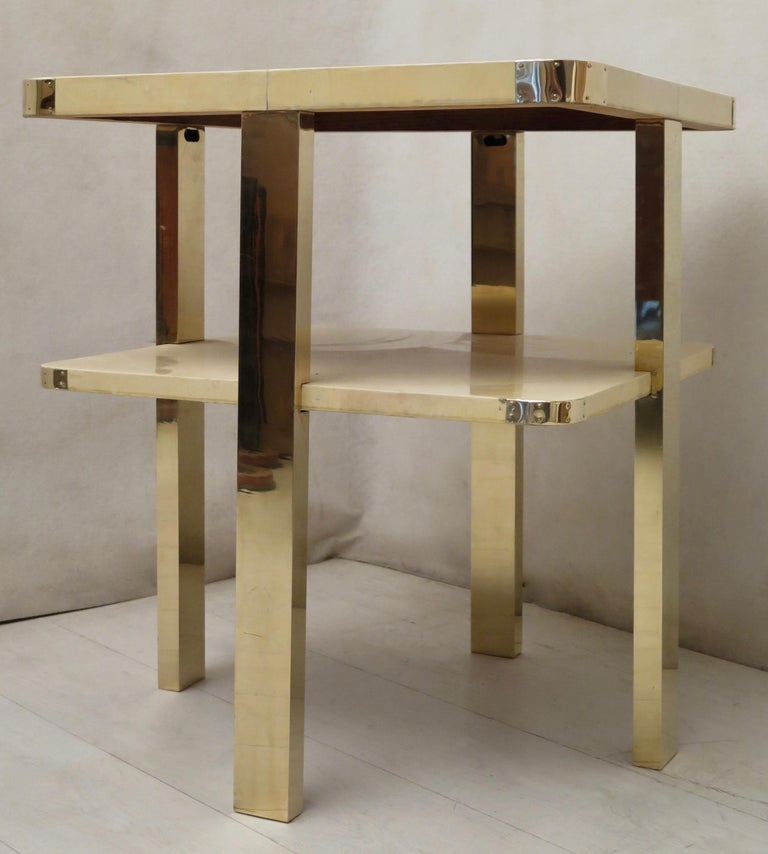 Art Deco Square GoatSkin and Brass Italian Side Table, 1920 For Sale 11