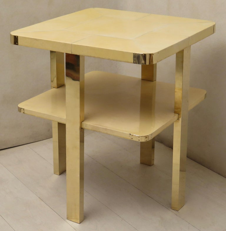 Art Deco Square GoatSkin and Brass Italian Side Table, 1920 For Sale 12