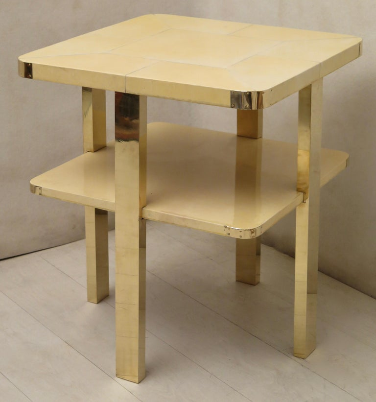 Art Deco Square GoatSkin and Brass Italian Side Table, 1920 For Sale 14