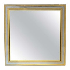 Art Deco Square Mirror of Brass and Chrome from England