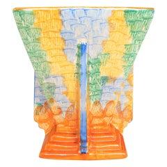Art Deco Square Vase by Wade Heath Attributed to Jessie Hallen