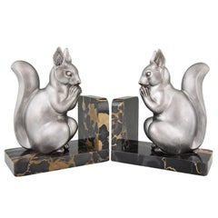 Art Deco Squirrel Bookends by M. Font France, 1930