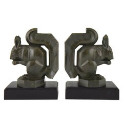 Art Deco Squirrel Bookends Max Le Verrier France Original, 1930