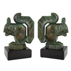 Art Deco Squirrel Bookends Max Le Verrier on Marble Base, France, 1930